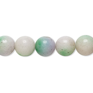 bead, malaysia jade (dyed), light purple and light green, 9-10mm round, c- grade, mohs hardness 7. sold per 15-inch strand.