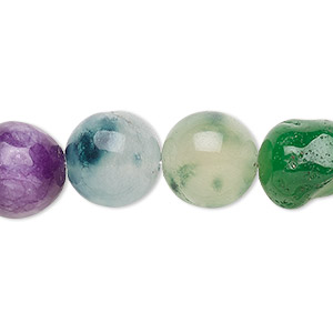 bead, malaysia jade (dyed), multicolored, 11-12mm round, d grade, mohs hardness 7. sold per 15-inch strand.