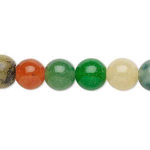 bead, malaysia jade (dyed), multicolored, 9-10mm round, c grade, mohs hardness 7. sold per 15-inch strand.
