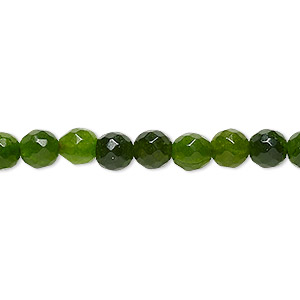 bead, malaysia jade (dyed), olive green, 5-6mm faceted round, c- grade, mohs hardness 7. sold per 14-inch strand.