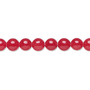 bead, malaysia jade (dyed), red, 6mm round, b grade, mohs hardness 7. sold per 16-inch strand.