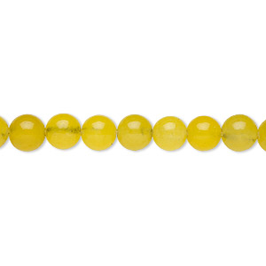 bead, malaysia jade (dyed), yellow-green, 6-7mm round, c grade, mohs hardness 7. sold per 15-inch strand.