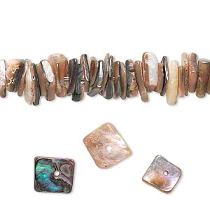 bead, mexican abalone (natural), medium chip, mohs hardness 3-1/2. sold per 16-inch strand.