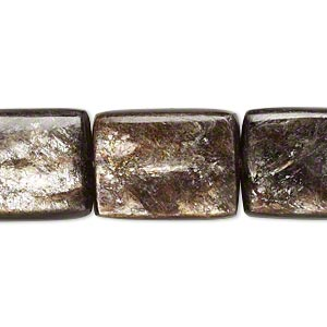 bead, mica (coated), 20x15mm puffed rectangle, b grade, mohs hardness 2. sold per 16-inch strand.