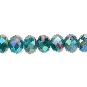 bead, millefiori glass, marbled teal ab, 9x6mm faceted rondelle. sold per 8-inch strand, approximately 25 beads.