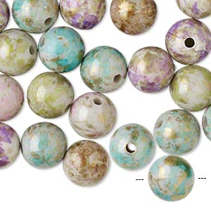 bead mix, acrylic, mixed colors, 10mm round with speckles and 1-1.5mm hole. sold per pkg of 100.