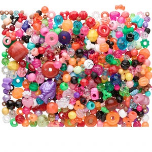 bead mix, acrylic, mixed colors, 4mm-34x26mm mixed shape with 1.5-3.5mm hole. sold per 3/4 pound container, approximately 950 to 1,100 beads.