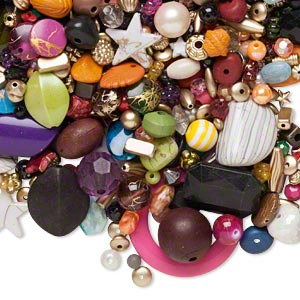 bead mix, acrylic, multicolored, 4x4mm-50x44mm mixed shapes. sold per pkg of 1 pound, approximately 1446 beads.