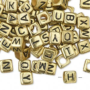 bead mix, acrylic, opaque gold and black, 6x6mm cube with alphabet letters and 3.5mm hole. sold per pkg of 100.