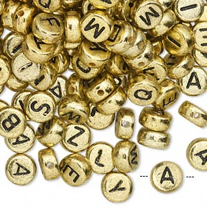 bead mix, acrylic, opaque gold and black, 7mm double-sided flat round with alphabet letters. sold per pkg of 200.