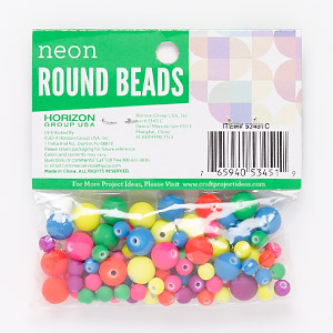 bead mix, acrylic, opaque mixed neon colors, 5-10mm round. sold per pkg of 90.