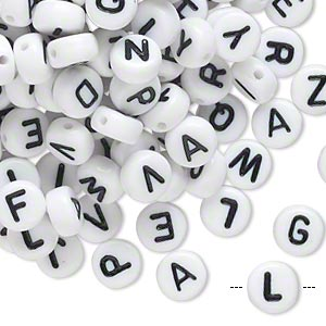 bead mix, acrylic, opaque white and black, 7mm double-sided flat round with alphabet letters. sold per pkg of 200.
