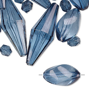 bead mix, acrylic, transparent blue, 6mm-36x13mm faceted double cone / faceted barrel / twisted oval. sold per pkg of 27.
