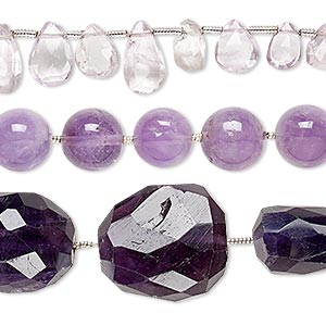 bead mix, amethyst (natural / dyed), 4x2mm-42x25mm hand-cut mixed shape, mohs hardness 7. sold per pkg of (3) 6-inch strands.