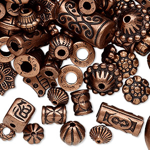 bead mix, antiqued copper-coated plastic, 6.5x2mm-25x19.5mm mixed shape. sold per 250-gram pkg, approximately 1,300 beads.