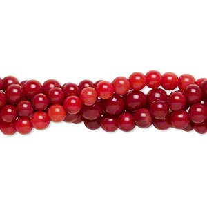 bead mix, bamboo coral (dyed), light to dark red, 2-7mm round, b- grade, mohs hardness 3-1/2 to 4. sold per pkg of (5) 15-inch strands.