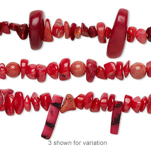 bead mix, bamboo coral (dyed), light to dark red, 5x4mm-28x23mm mixed shape, c grade, mohs hardness 3-1/2 to 4. sold per 8-inch strand.