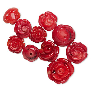 bead mix, bamboo coral (dyed), light to dark red, 8x6mm-14x6mm half-drilled carved flower, b grade, mohs hardness 3-1/2 to 4. sold per pkg of 10.
