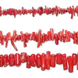bead mix, bamboo coral (dyed), red, 4x3mm-21x10mm mixed shape, c grade, mohs hardness 3-1/2 to 4. sold per pkg of (3) 16-inch strands.