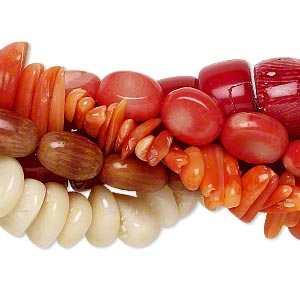 bead mix, bamboo coral (natural / dyed), mixed colors, 10x3mm-19x10mm mixed shape, b- grade, mohs hardness 3-1/2 to 4. sold per pkg of (5) 15-inch strands.