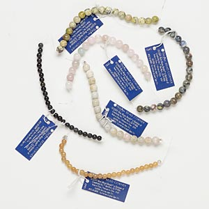 bead mix, blue moon beads, multi-gemstone (natural / dyed), round, 4 inches. pkg/6.