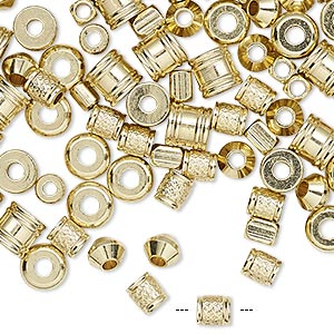 bead mix, brass, 4x3mm-6x5.5mm mixed shape. sold per 1/4 pound pkg, approximately 300-330 beads.