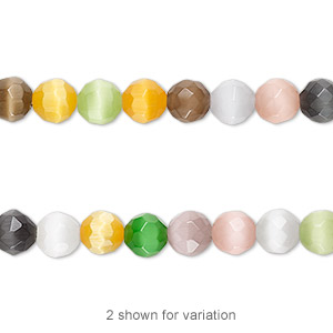 bead mix, cats eye glass, multicolored, 6mm faceted round. sold per 16-inch strand.