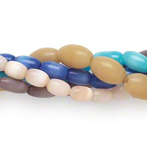 bead mix, cats eye glass, multicolored, 6x4mm-11x8mm oval. sold per pkg of five 14-inch strands.