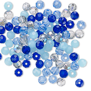 bead mix, celestial crystal, blues, 4-4.5mm faceted round. sold per pkg of 100.