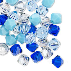 bead mix, celestial crystal, blues, 7-8mm faceted bicone. sold per pkg of 40.