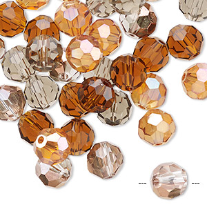 bead mix, celestial crystal, fall, 7.5-8mm faceted round. sold per pkg of 40.