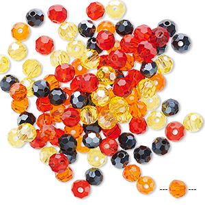 bead mix, celestial crystal, fire, 4-4.5mm faceted round. sold per pkg of 100.
