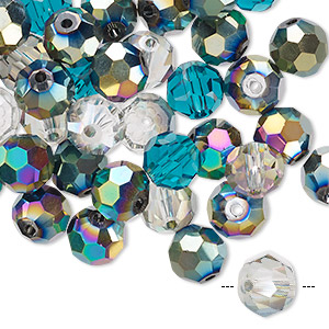 bead mix, celestial crystal, ocean, 7.5-8mm faceted round. sold per pkg of 40.