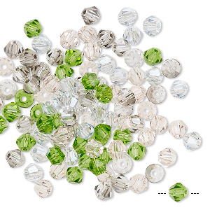bead mix, celestial crystal, spring, 4x3mm-4.5x5mm faceted bicone with 0.9-1mm hole. sold per pkg of 100.
