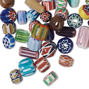 bead mix, chevron glass, mixed colors, 4x2mm-12x8mm mixed shape, 0.5-3mm hole. sold per pkg of 50.