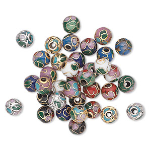bead mix, cloisonne, multicolored, 6mm round. sold per pkg of 36.