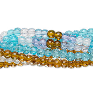 bead mix, crackle glass, multicolored, 3-4mm round. sold per pkg of ten 15-inch strands.
