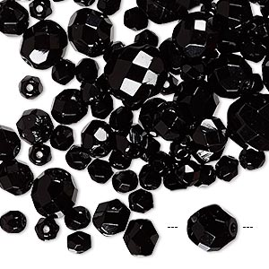 bead mix, czech fire-polished glass, black, 4-10mm faceted round. sold per 50-gram pkg, approximately 75-130 beads.