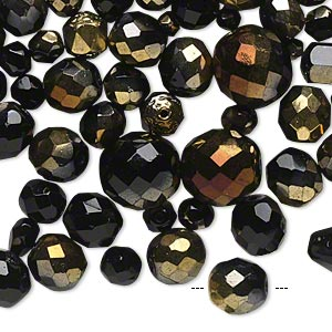 bead mix, czech fire-polished glass, jet with half-coat bronze and gold, 4x4mm-16x14mm faceted round. sold per 1/4 pound pkg, approximately 180 beads.