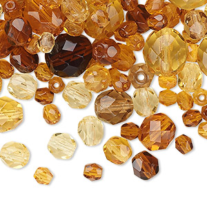 bead mix, czech fire-polished glass, topaz brown, 4-10mm faceted rounds. sold per 50-gram pkg, approximately 75-130 beads.
