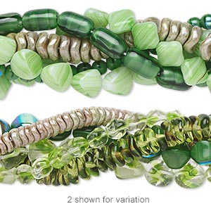 bead mix, czech glass, light green and dark green, 6mm-18x13mm multi-shapes. sold per pkg of (5) 16-inch strands.