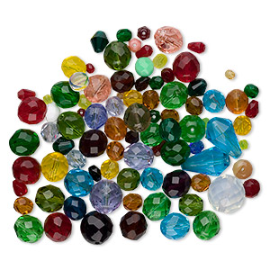 bead mix, czech glass, mixed colors, 3-20mm faceted mixed shape. sold per 100-gram pkg, approximately 70-95 beads.