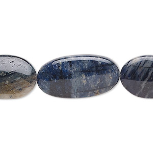 bead mix, flower dumortierite (natural), 16x13.5mm / 19x13.5mm / 25x13mm flat oval, b grade, mohs hardness 7. sold per 8-inch strand, approximately 10 beads.
