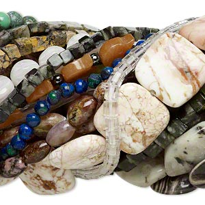 bead mix, gemstone (natural / dyed / heated / manmade) and glass, 4mm-40x30mm mixed shape, c- grade. sold per pkg of (25) 15-inch strands.