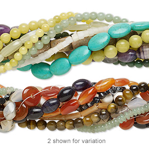 bead mix, gemstone (natural / dyed / manmade), 5x5mm-30x22mm mixed shape, c- grade. sold per pkg of ten 16-inch strands.