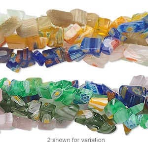 bead mix, glass / millefiori glass / cats eye glass, mixed colors, small chip. sold per pkg of (5) 34-inch strands.