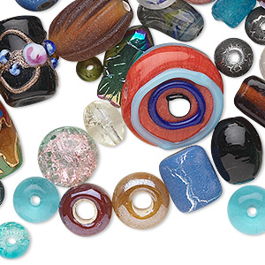 bead mix, glass, mixed colors, 3-30mm mixed shape. sold per 1/2 pound pkg, approximately 140 beads.