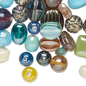 bead mix, glass, mixed colors, 4x3mm-42x12mm mixed shape. sold per 1/2 pound pkg, approximately 100-450 beads.