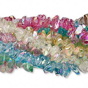 bead mix, glass, mixed colors ab, small chip. sold per pkg of (10) 36-inch strands.