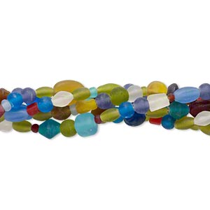 bead mix, glass, multicolored with matte finish, 4mm-22x10mm mixed shapes. sold per pkg of (5) 16-inch strands.